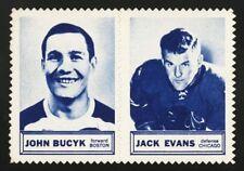 1961-62 1961 TOPPS HOCKEY STAMP PAIR WAX PACK INSERT JOHNNY BUCYK JACK EVANS
