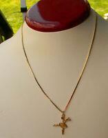 "Vintage 1960's Ballerina Pendant necklace Gold tone 16"""