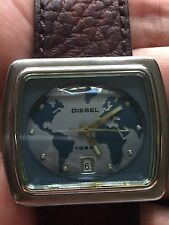 Vintage Diesel Watch DZ3012 Solid Stainless Steel Leather Band Old TV Style