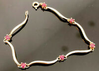 925 Sterling Silver Ruby Bracelet Real Gold Over Birthstone July  6 Stones 4.6gr