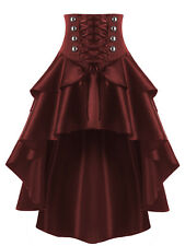 NEW Victorian High Waist Lace Up Skirt Women Ladies SteamPunk Retro Gothic Dress