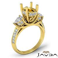 3 Stone Pear Oval Diamond Wedding Antique Ring Semi Mount 14k Yellow Gold 1.21Ct