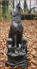Bronzeskulptur Wolfhund mit Jungtiere, Dekoration für Heim und Garten
