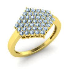 0.86 Ct Natural Gemstone Aquamarine Engagement Ring 14K Yellow Gold Size L M N J