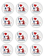 "I Love London Edible Icing, Cup Cake Toppers 12 x 2"" Set 1"