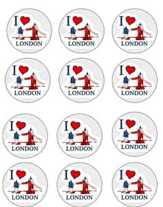 """I Love London Edible Icing, Cup Cake Toppers 12 x 2"""" Set 1"""