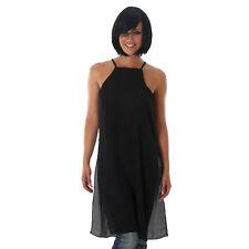 sexy Longshirt T-shirt Oversize Shirt Träger Top Longtop Schwarz Größe 38