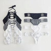 Women Bandage Bikini Set Halter Crop Top Swimsuit Swimwear Beach Bathing Suit
