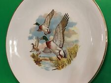 WEATHERBY HANLEY ENGLAND  ROYAL FALCON WARE PLATE WITH 3 FLYING MALLARDS