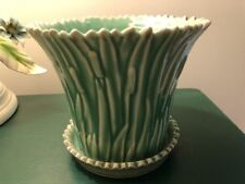 Vintage Look Art Pottery Vase Planter Green Cattails Attached Saucer