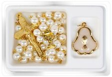 First Holy Communion Rosary Beads Pearl Golden Girl & golden pendant FHC Gifts