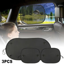 3Pcs Car Front Rear Sun Shade Shield Mesh Cover Window Shade Visor UV Protection