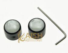 2 Pcs Black  Telecaster White Pearl Top Guitar Dome Knobs Set Screw Bass Knob