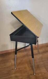 Child's School Desk Adjustable Chrome Legs Brown Wood Formica Lift Top #2