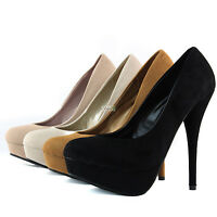 Women High Heel Fashion Sexy Stilettos Platform Kitten Round Pumps Dress Shoes