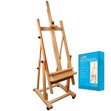 US Art Supply Wood H-Frame Deluxe Adjustable Wood Studio Easel w/ Tilt Paint