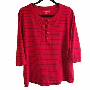 Croft & Barrow 1X Red & Black Laced Front Roll Tab 3/4 Sleeves Pullover Knit Top