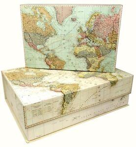 Set 2 Punch Studio Rectangle Flip Top Nesting Boxes Ocean Atlantic med/lrg 26544