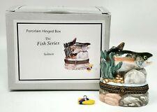 Midwest Cannon Falls Phb Porcelain Trinket Box Fish Series Salmon Fishing Nip