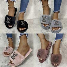 Women Girls Fashion Fluffy Fur Slip On Sliders Slippers Flat Slip-on Shoes AU