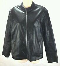 ROOTS Canada Women's Black Leather Coat Jacket Moto Motorcycle Medium M