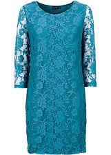 Spitzenkleid 32 34 36 türkis Minikleid Spitze 3/4 Arm Kleid Bodyflirt