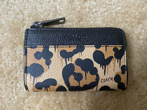 Coach women's card holder/key pouch,leather, leopard print
