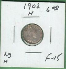 1902-H Canada 5 Cents Silver Coin - Large H - F-15