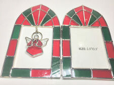 BEAUTIFUL GREEN RED GLASS ANGLE PHOTO FRAME FOR 2.5X3.5 INCH PHOTO