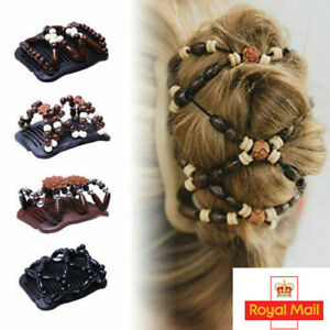 Women Retro Magic Beads Stretch Double Hair Comb Clip Hairpin Hair Decoration UK