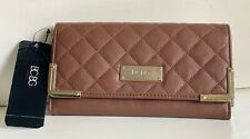 NEW! BCBG PARIS COGNAC BROWN QUILTED CONTINENTAL CLUTCH WALLET PURSE $58 SALE