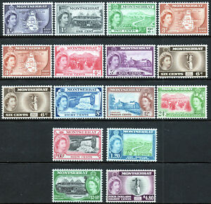 Montserrat 1953 QEII set of mint stamps value to $4.80  Lightly Hinged