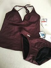 Speedo Axcelerate Seperates Chocolate Brown Tankinin 2 Pc Size XS NWT