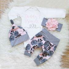 Baby Mädchen Jumpsuit Spielanzug + lange Hosen Bodysuit Kleider Outfits Set 4pcs