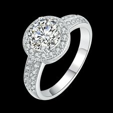 Classic 18k 18ct White Gold Filled CZ Woman Wedding Ring Size7  R-A331