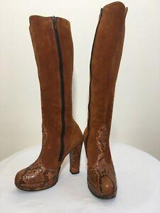 Vintage 70s Suede Leather - Snakeskin platform boots UK4