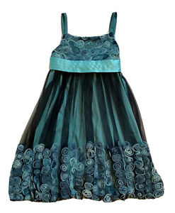 Bonnie Jean Turquoise/Navy Blue Tulle Girls Holiday Dressy Party Dress Size 7