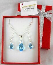 925 Silber set Ohrringe Anhänger Original Swarovski Kristallen Earwire Aquamarin