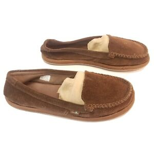 Sanuk Brown Suede Slip On Moccasin Shoes Flats Comfort Loafers Womens Size 9