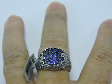 David Yurman Waves Sterling Silver Blue Sapphire R05951mssasa Signet Ring 12