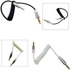 3.5 mm Jack a jack estéreo Espiral En Espiral Cable Aux Blk/wht para los últimos teléfonos celulares