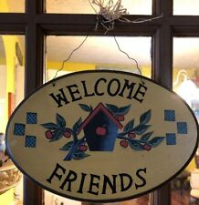 Welcome Friends Fall Harvest Wood Wall Plaque Home Decor Wall Door Apples