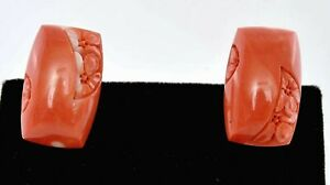 Vintage Japanese Natural Coral Carved Carving Cabochon Bead Cufflinks Flowers