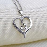 Silver Love Heart Necklace Pendant Birthday Gift for Her Girlfriend Mum Wife New