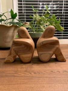 Vintage R. Hargrave Mid Century Hand Carved Wood Abstract Sculpture Bookends