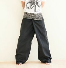 Extra Long Premium Cotton Fisherman Pants Tribal Rock Yoga Plain Trousers Black