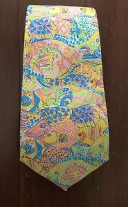 LILLY PULITZER BOYS TIE SILK PASTEL FISH EASTER