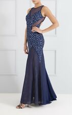 BNWT Forever Unique Gem Embellished Mesh Fishtail Maxi Dress Gown UK10 RRP £525