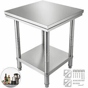 Tavolo In Acciaio Inox Banco Cucina Professionale Ristorante 60X60X80cm