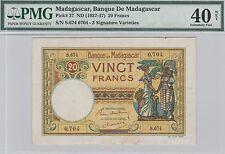 Madagascar 20 Francs Banknote (1937-47) Extra Fine Grade-PMG-40 Cat#37